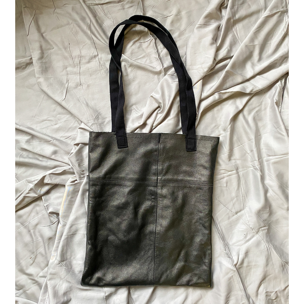 Metallic Black Recycled Leather Tote Bag