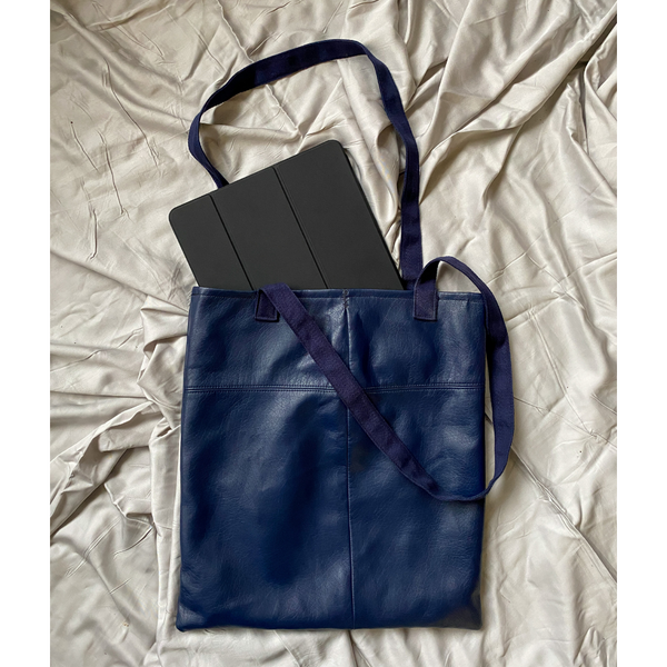Navy Recycled Faux Leather Tote Bag