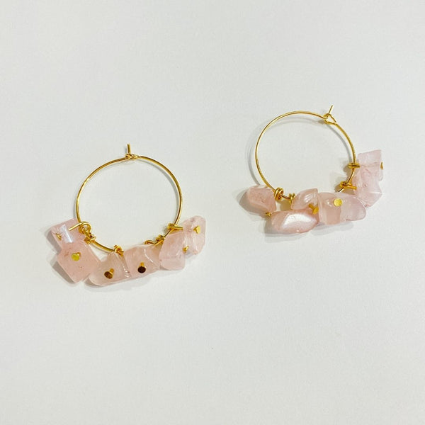 Rose Quartz Gold Hoops