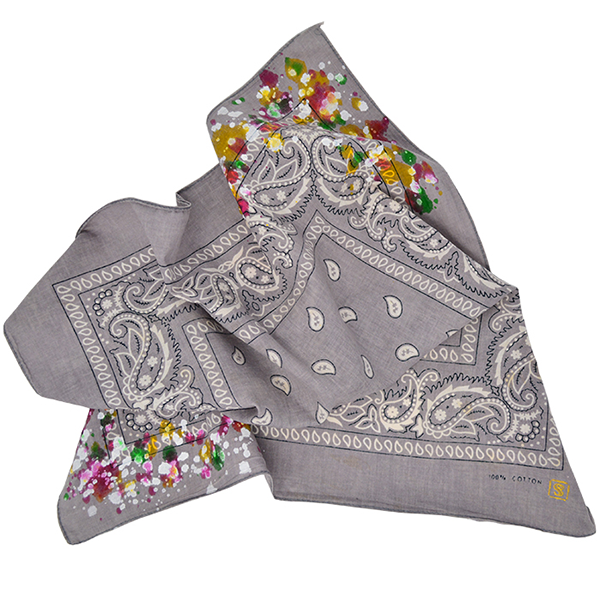 Doctor'd by Squar'd Away - Gray Splatter Bandana