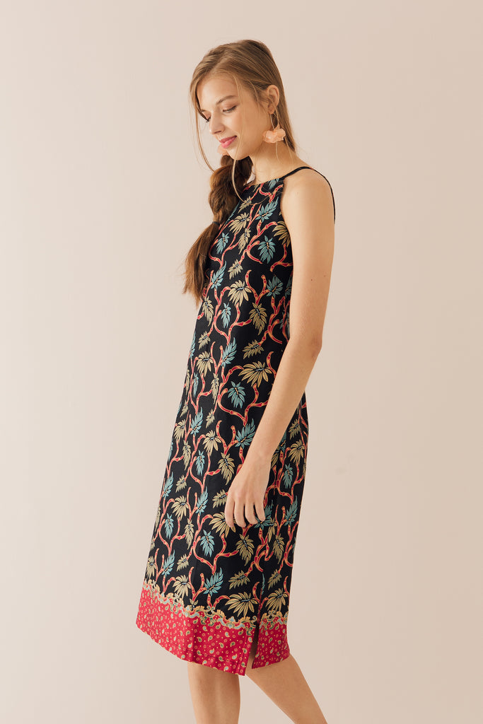 Halter Dress in Bamboo Print