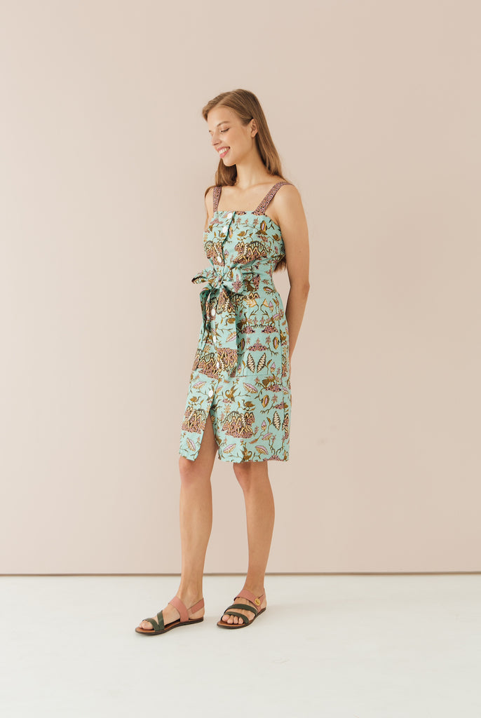 Theo Button Down Dress in Lotus print
