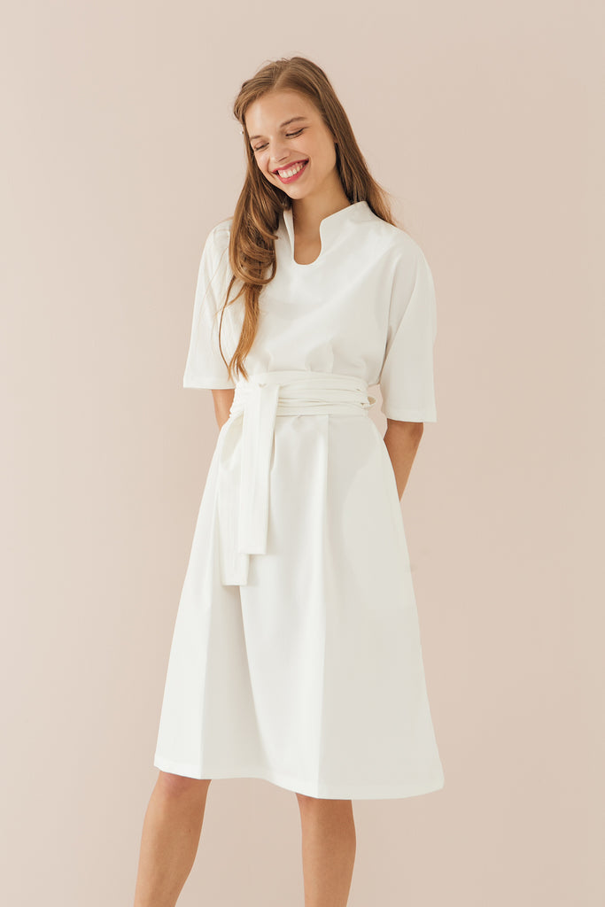 Mandarin Collar Dress with Obi Belt