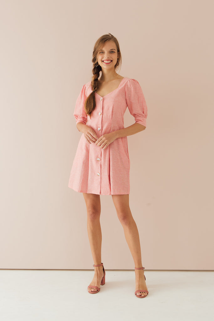 Luna Puff Sleeve Dress Pink