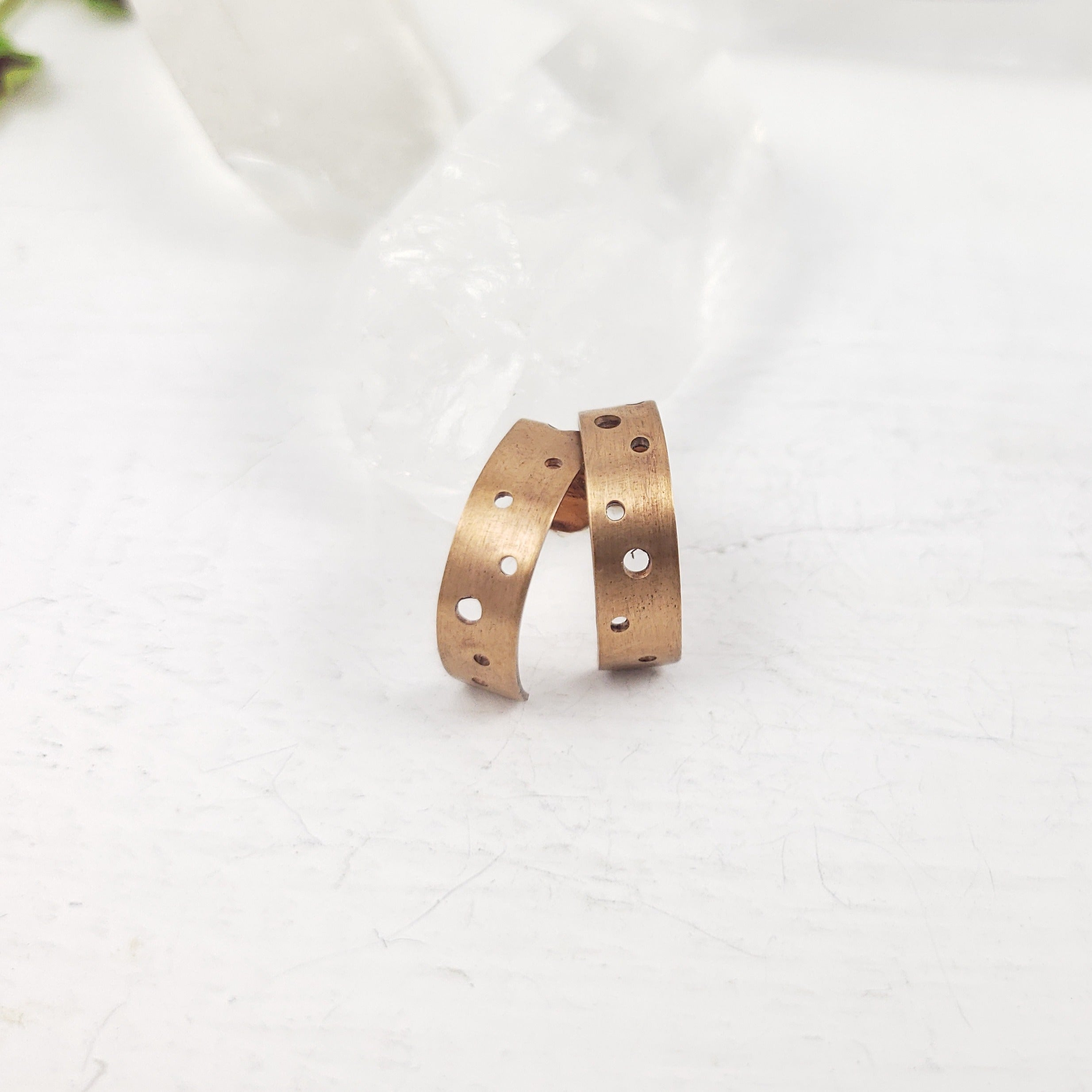 Bronze Drilled Half Hoop Studs
