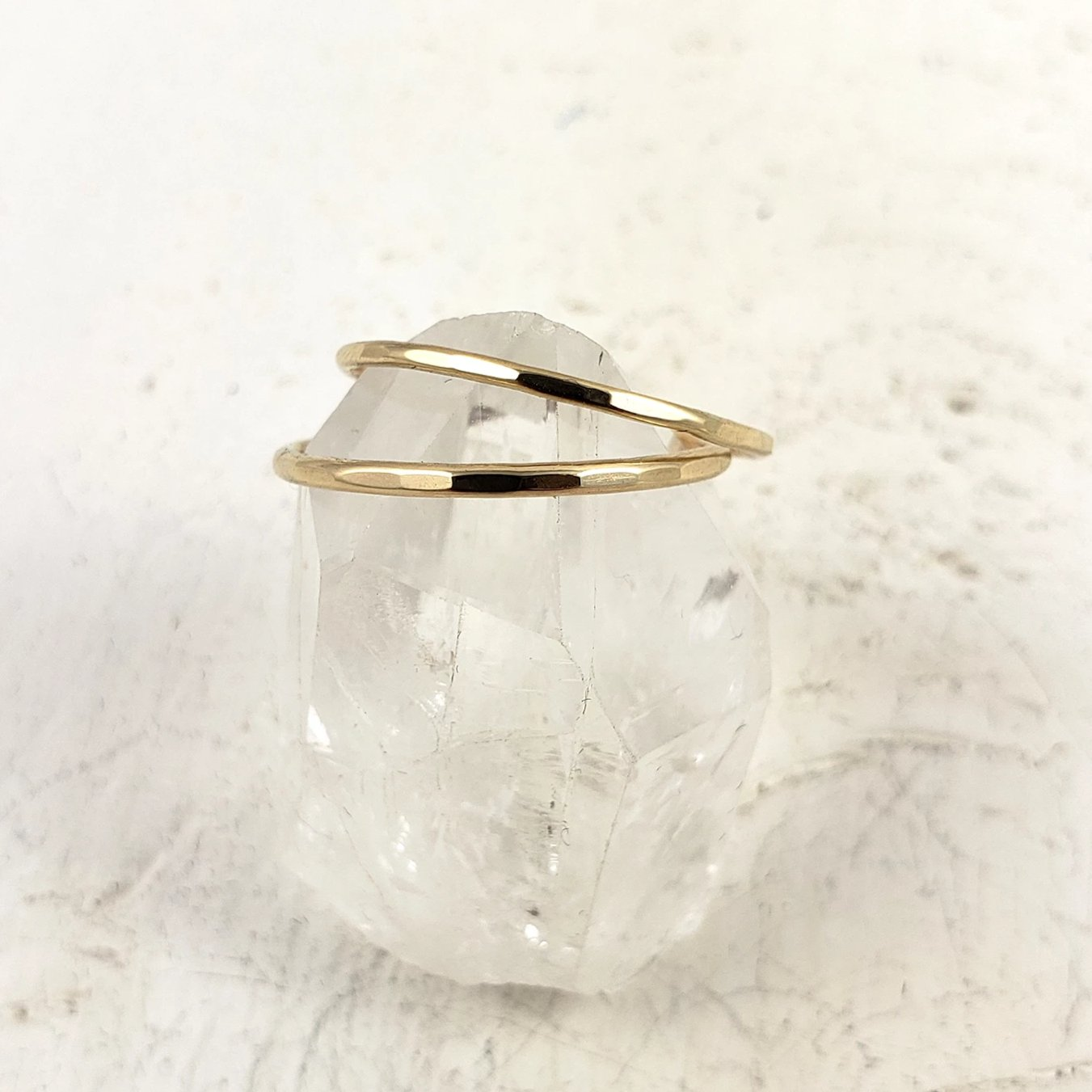 Solid Gold Skinny Band, 1mm, Faceted