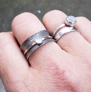 Spinner Ring, Moonstone, Silver and Gold Filled - Gemspell