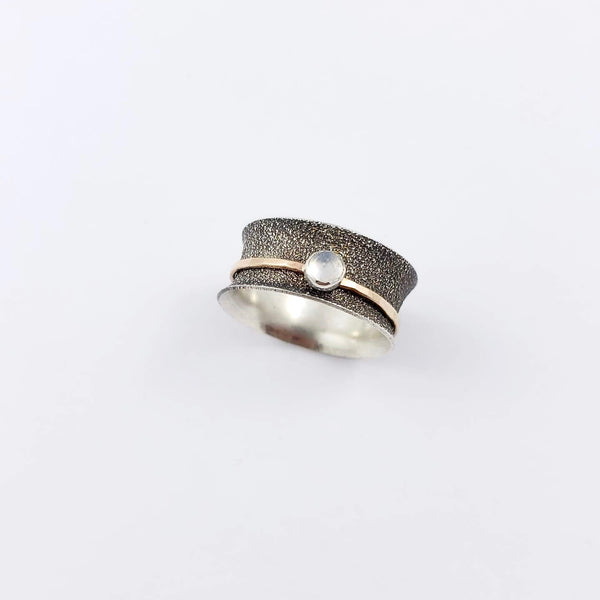 Spinner Ring, Moonstone, Silver and Gold Filled