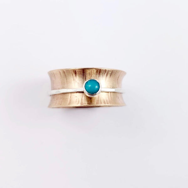 Spinner Ring, Turquoise, Bronze and Silver