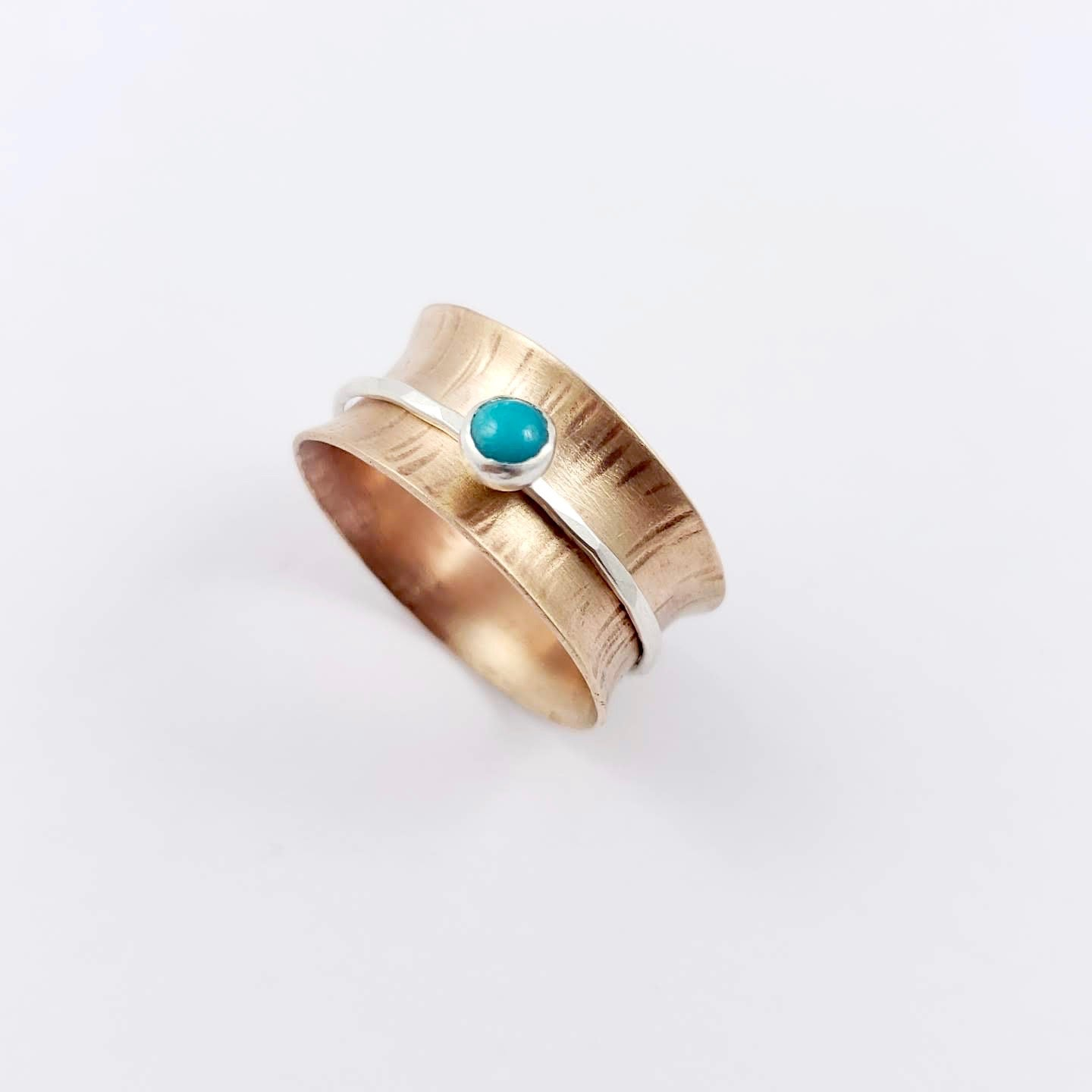 Spinner Ring, Turquoise, Bronze and Silver - Gemspell