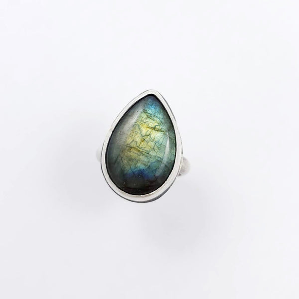 labradorite ring, statement ring, handmade ring, teardrop gemstone ring