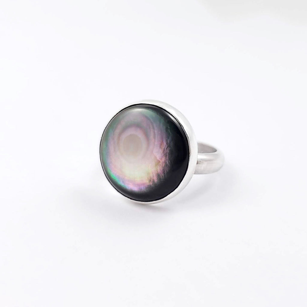Black Mother of Pearl Ring, Size 9, Round Stone in Shiny Sterling Silver, Minimalistic Jewelry