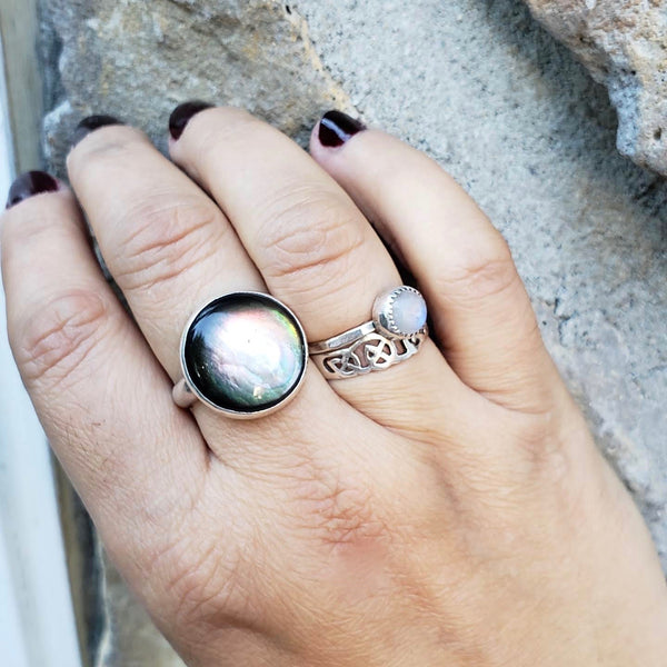 Black Mother of Pearl Ring, Size 9
