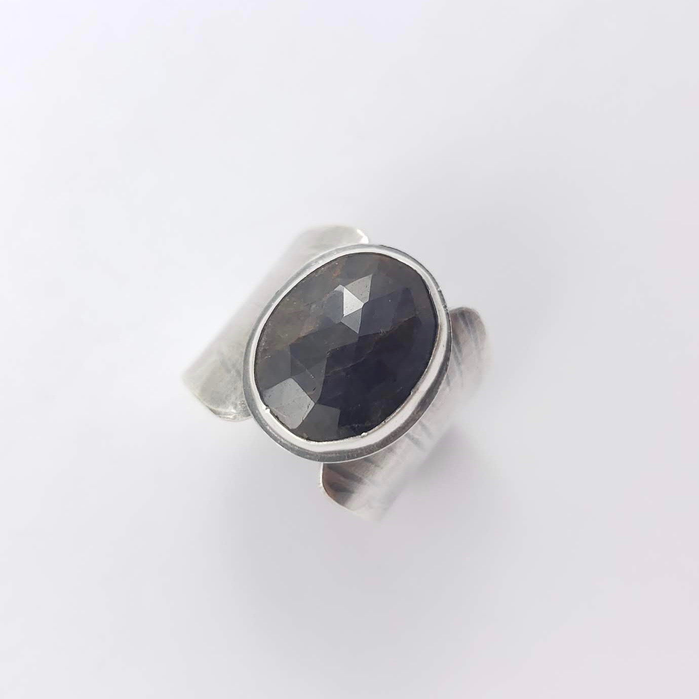Silver and Sapphire Shield Ring, Size 8.25 - Gemspell