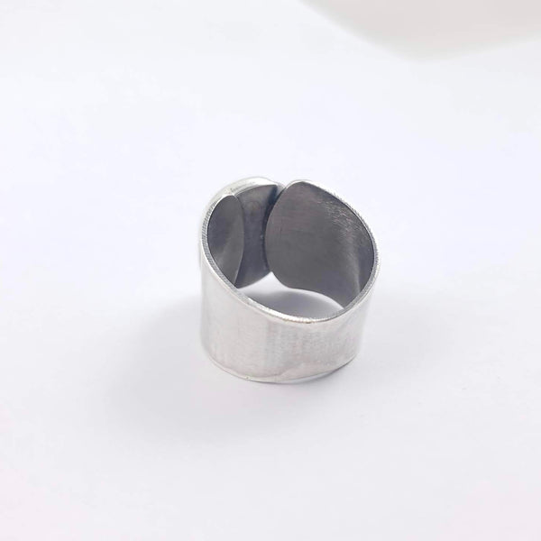 Silver and Sapphire Shield Ring, Size 8.25