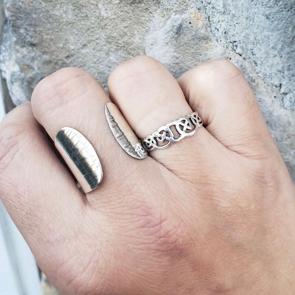 Silver Shield Ring, Adjustable