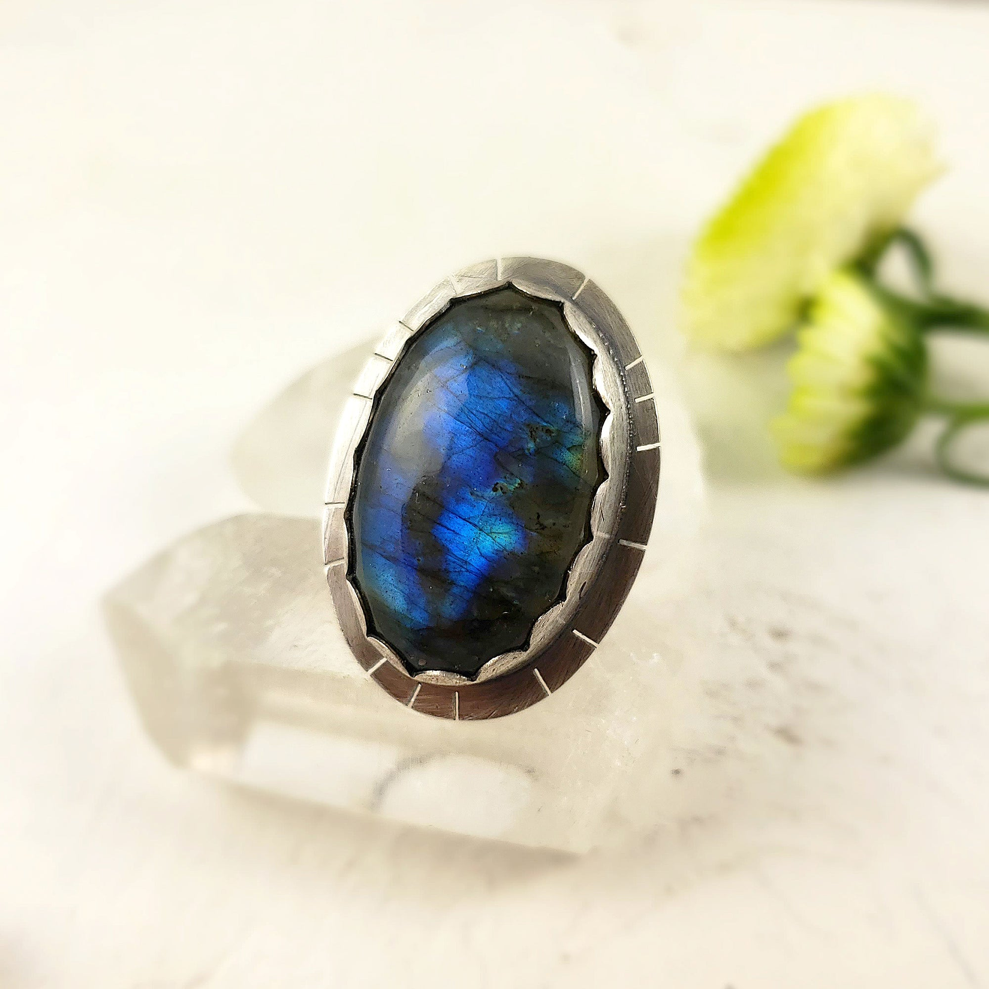 Handmade Oval Labradorite Statement Ring, Size 6.5