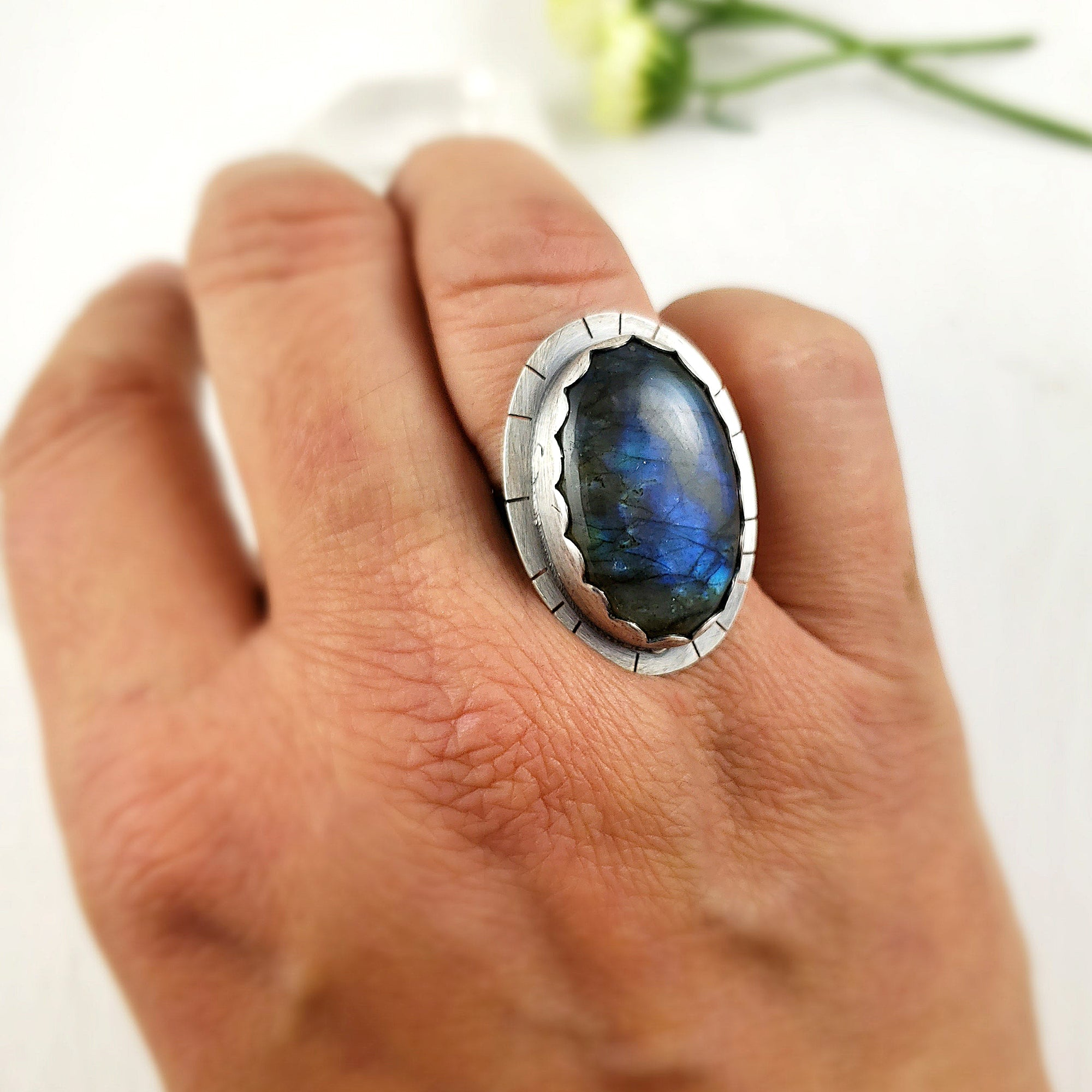 Boho Blue Labradorite Ring