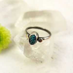 American Old Stock Turquoise Ring with Spheres