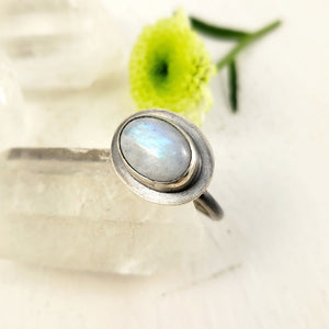 Oval Rainbow Moonstone Ring