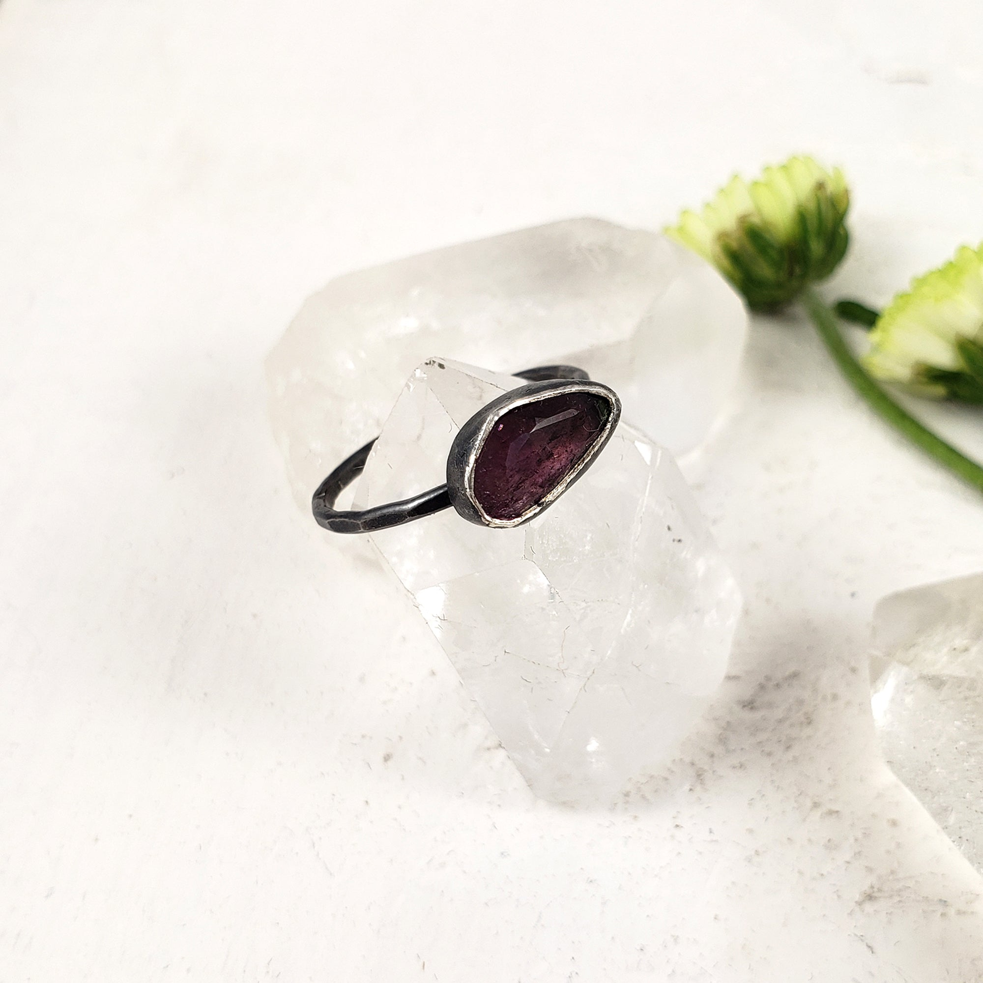 Dark Pink Tourmaline Ring