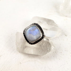 Rainbow Moonstone Ring Handmade in Canada in your size