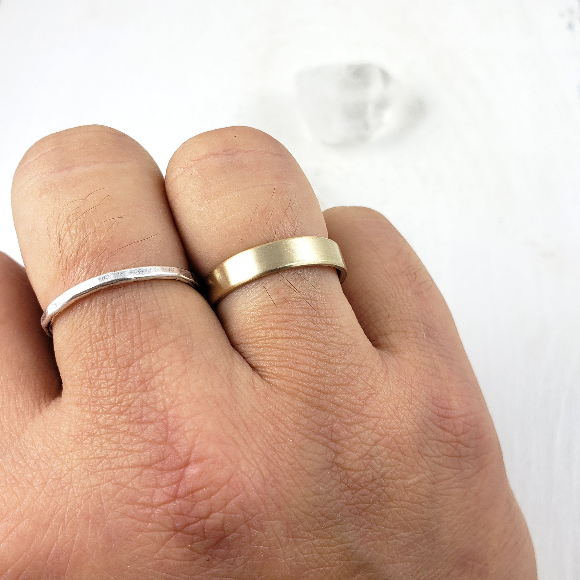 Solid Gold Band 4mm, Brushed
