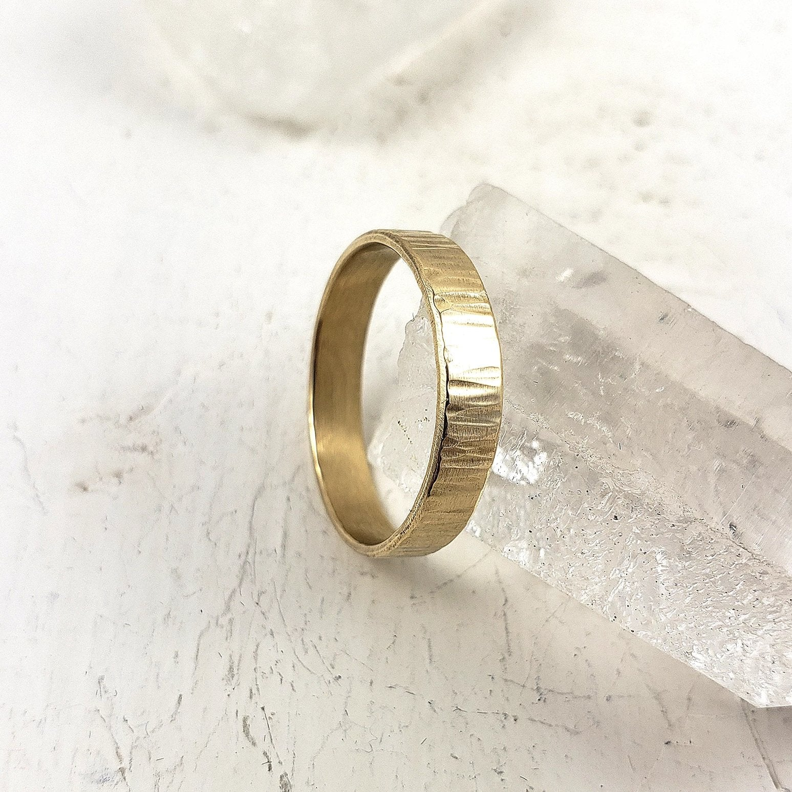 Unisex solid gold wedding band, textured for an artisan yet modern look