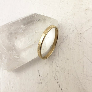Handmade in Canada solid yellow gold wedding band, 14k gold ring for her
