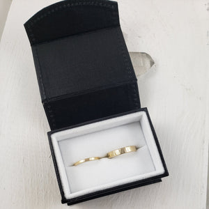 Handmade in Canada by Gemspell, set of solid yellow gold wedding bands