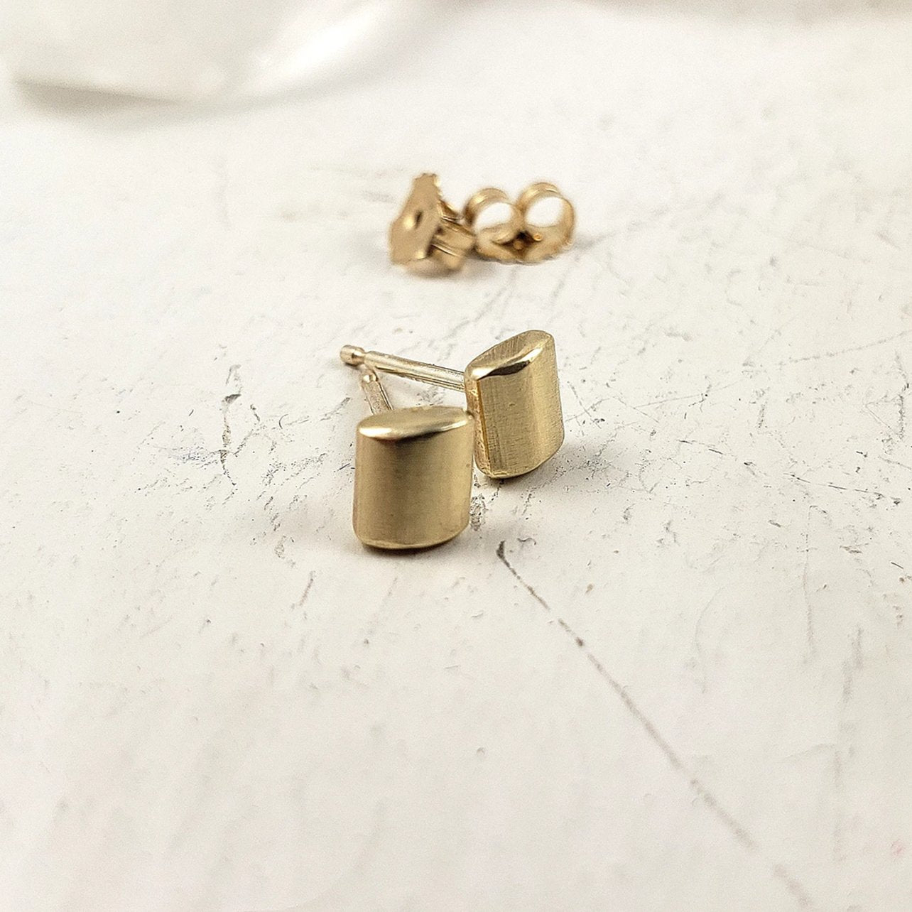 solid 10k yellow gold studs, handmade in Canada