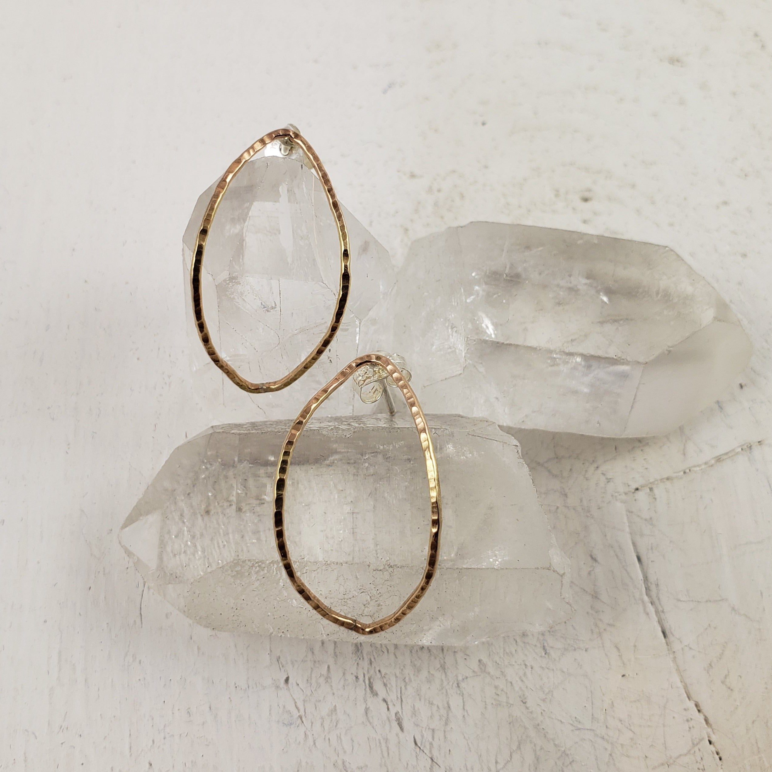 Goldfill Marquise Hoop Studs