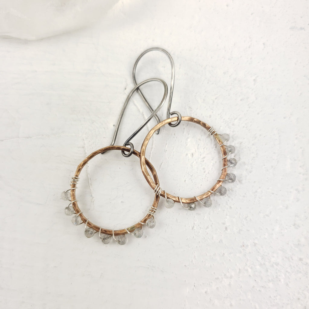 Bronze and Labradorite Hoops
