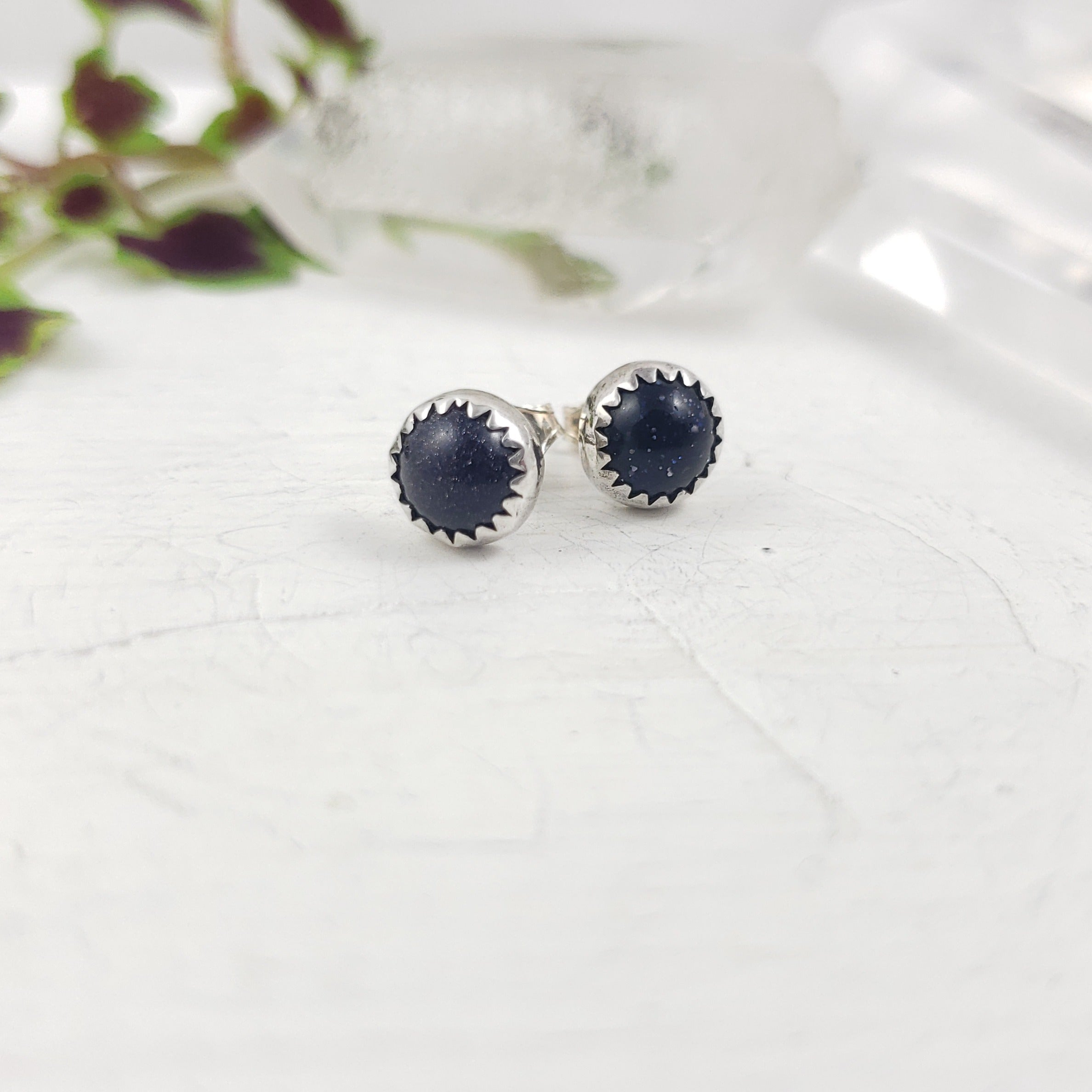 Blue Goldstone Studs