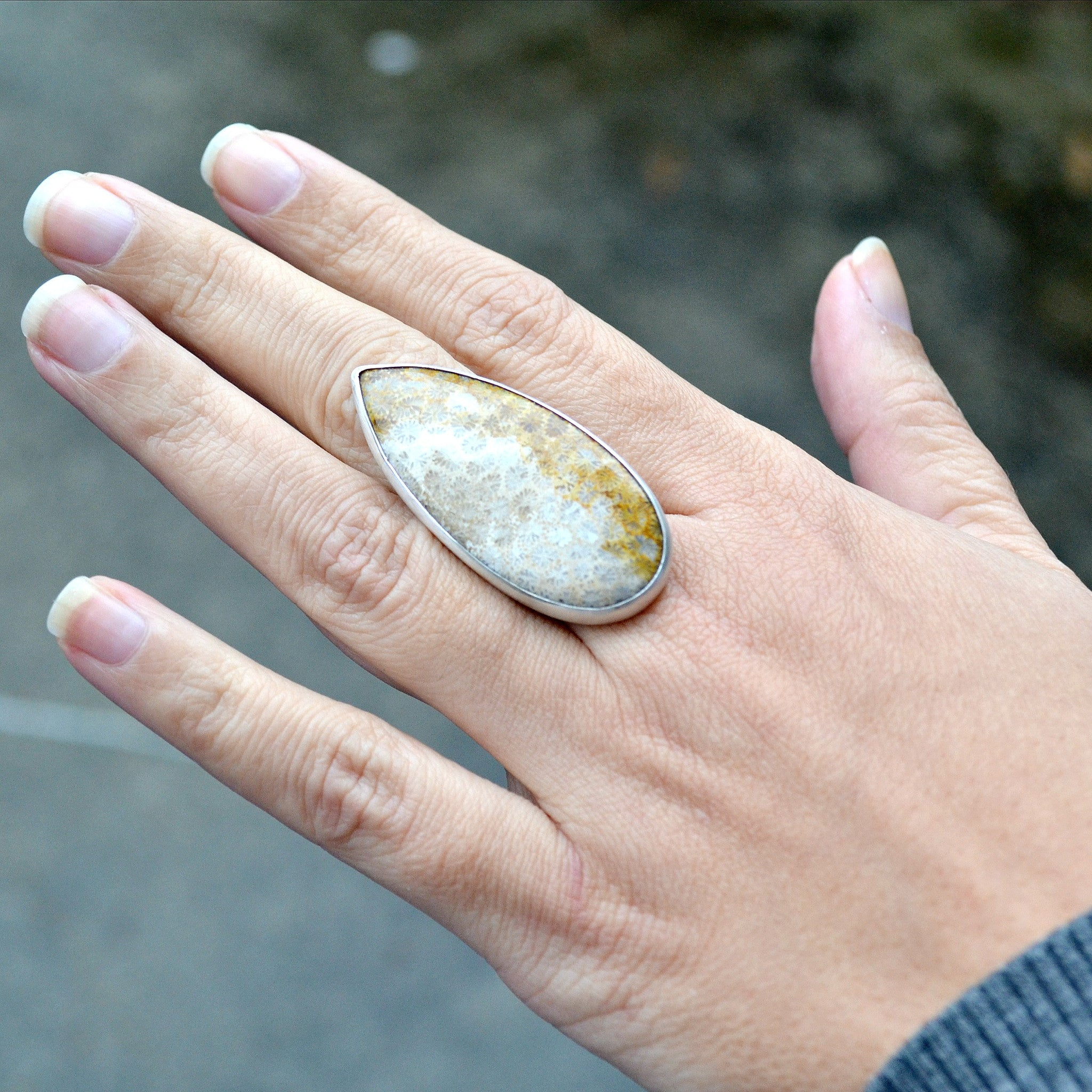 Fossilized Coral Statement Ring - Gemspell