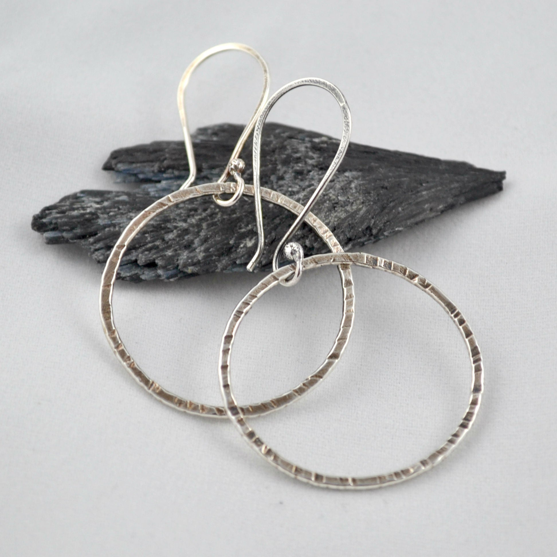 Silver Dangle Hoops - Gemspell