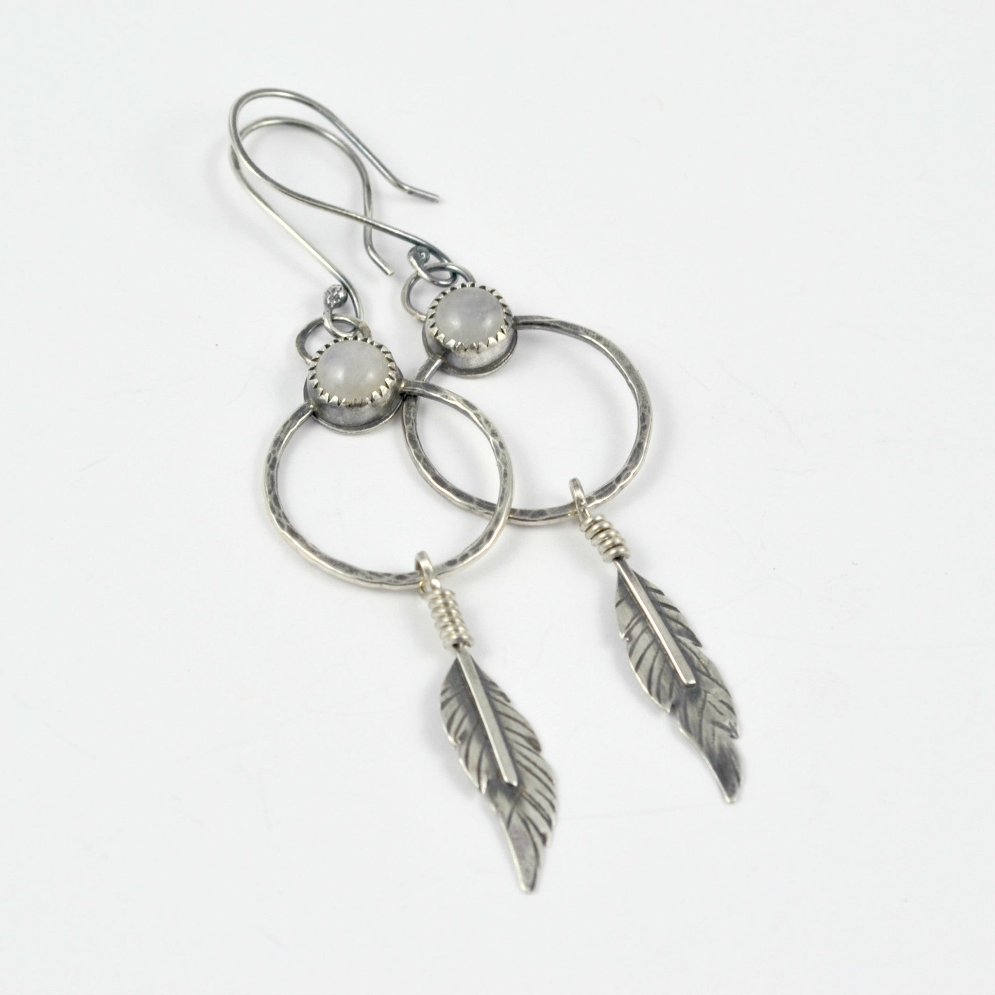 Moonstone Dreamcatcher Earrings - Gemspell