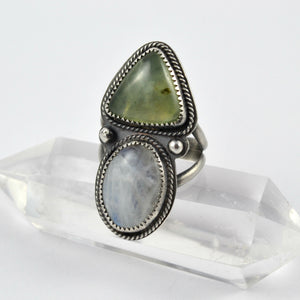 Prehnite and Moonstone Dual Stone Ring - Gemspell