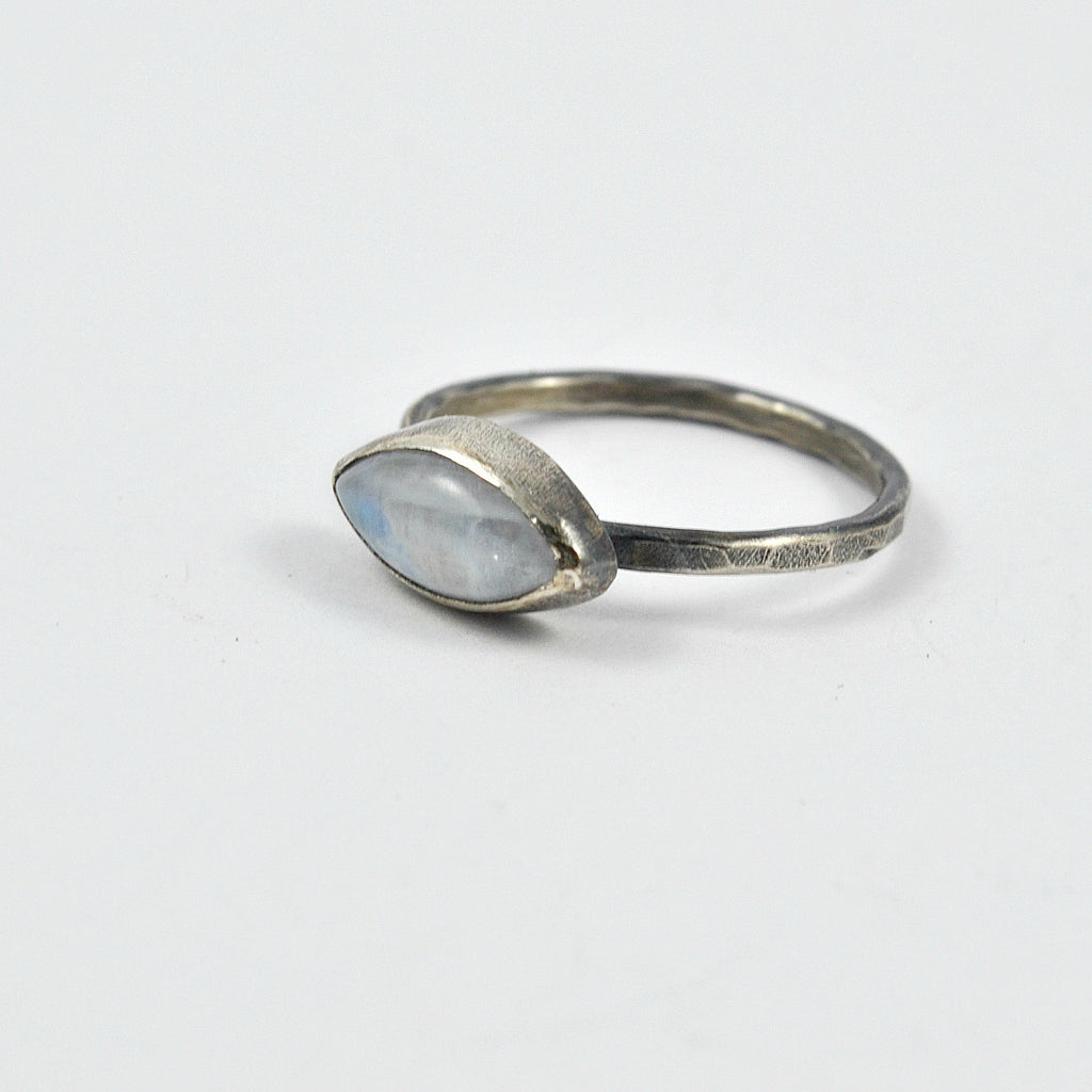Marquise Shaped Rainbow Moonstone Ring in Patinated Sterling Silver