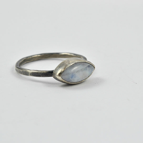 witch ring, rainbow moonstone in dark silver