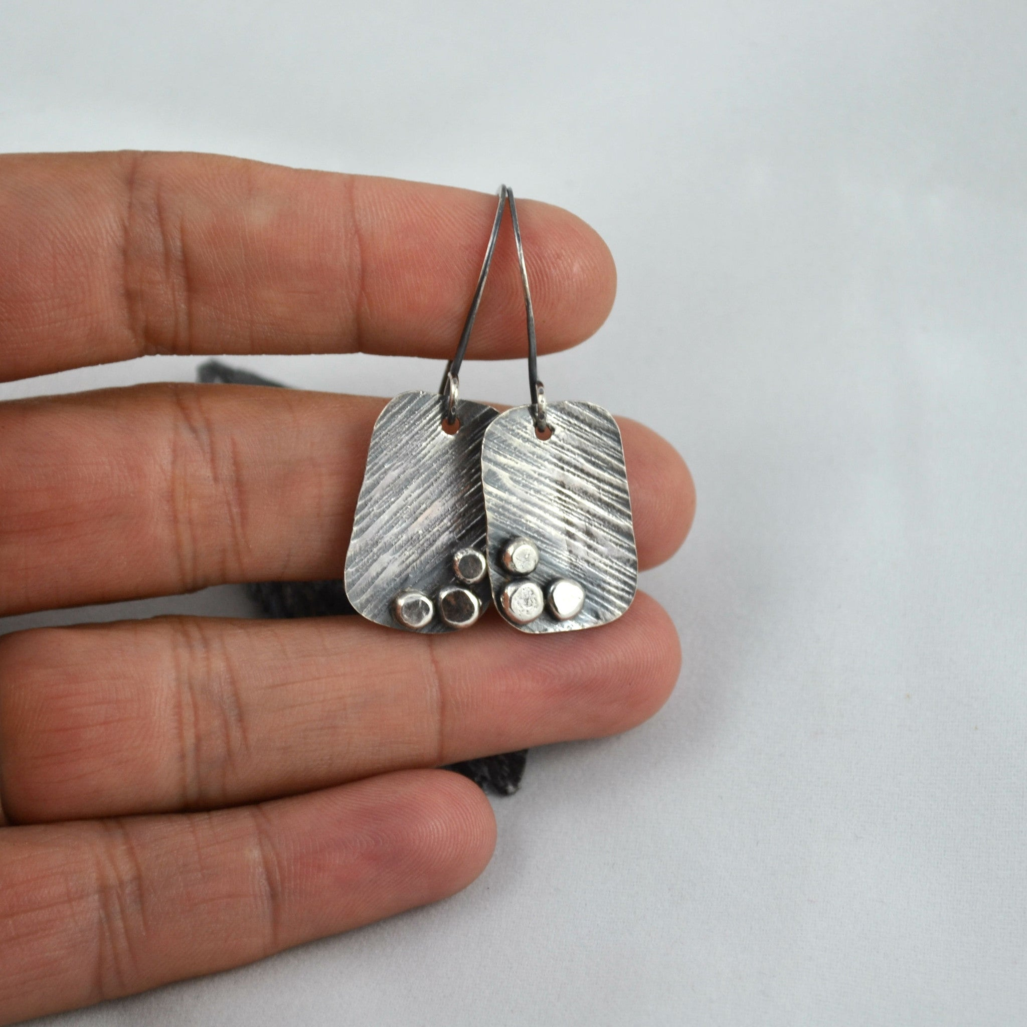 Silver Square Earrings - Gemspell