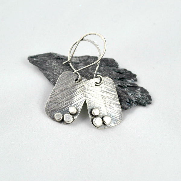 sterling silver earrings, rustic jewelry, artisan jewellery