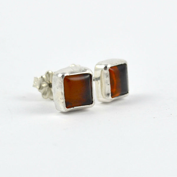 Square Amber Studs