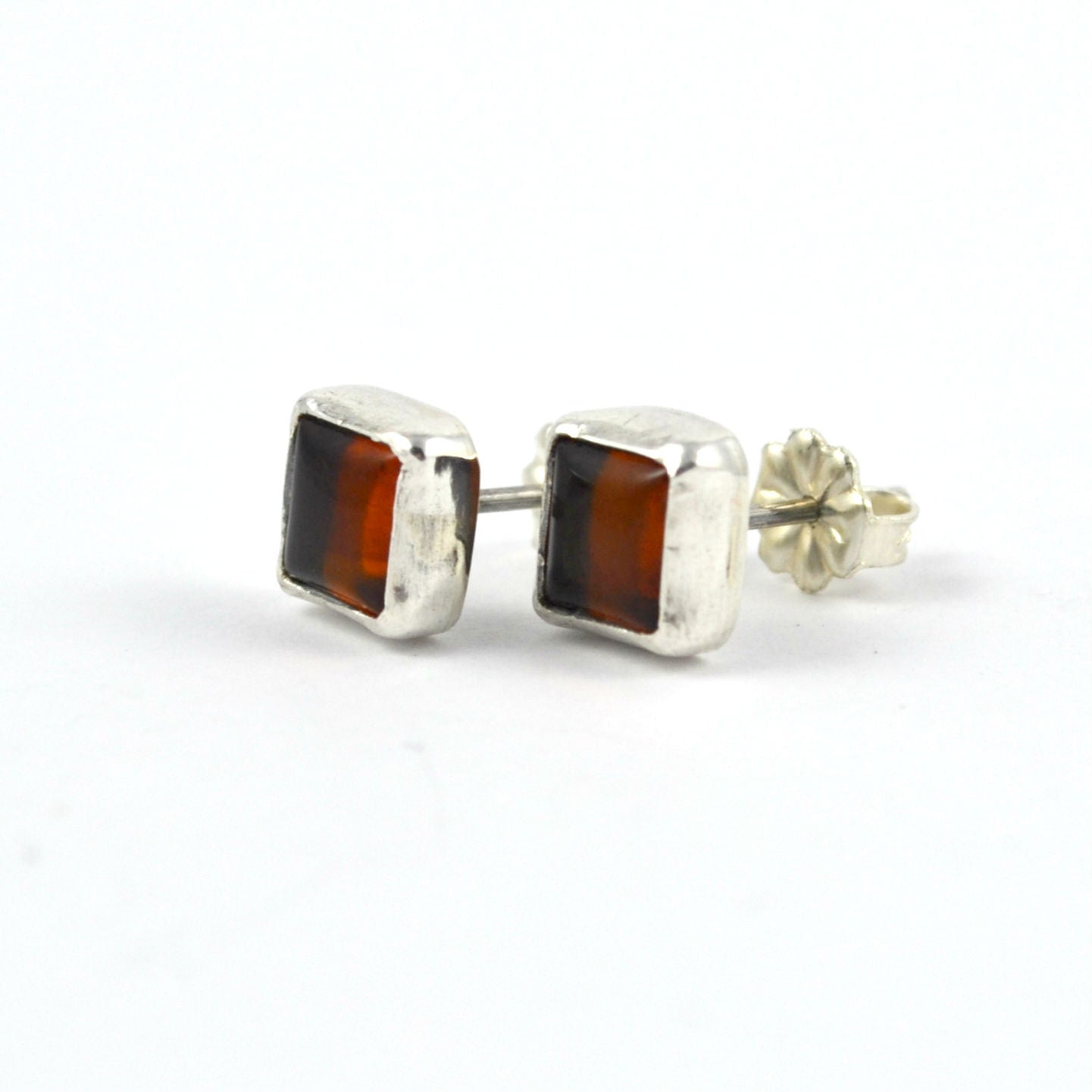 Square Amber Studs - Gemspell