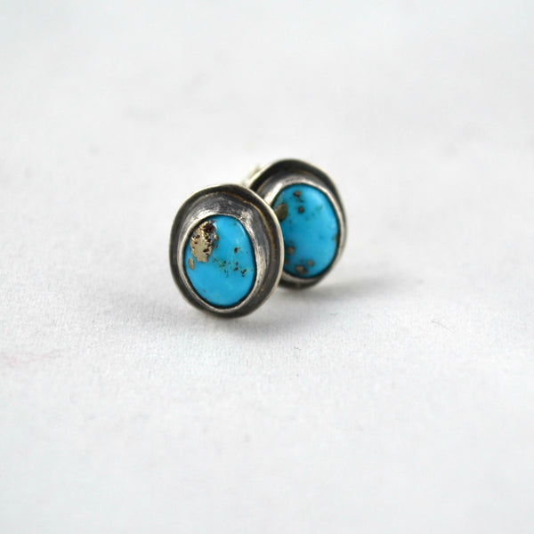 Turquoise Earrings Studs, Bohemian Earrings, Genuine Turquoise Stones, Gemstone Earrings