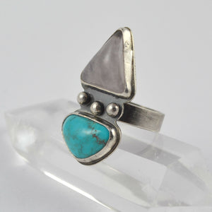 Rose Quartz And Turquoise Dual Stone Ring - Gemspell