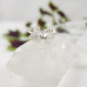 Small White Moonstone Studs