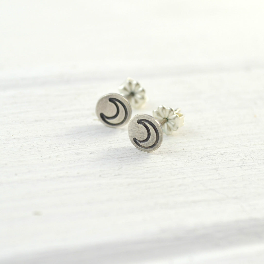 Crescent Moon Studs - Gemspell