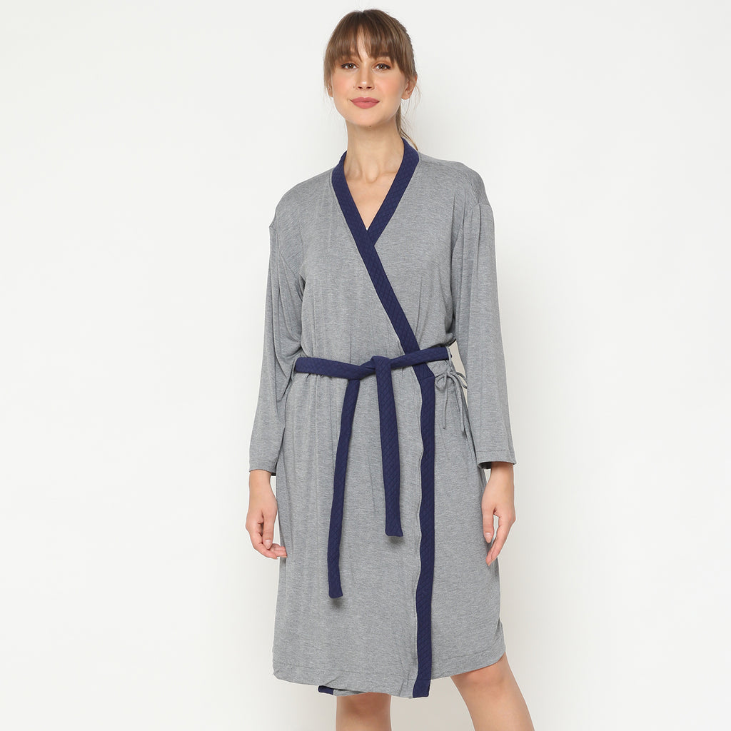 Maison Elmesa Nursing Robe - Darkmisty Navy
