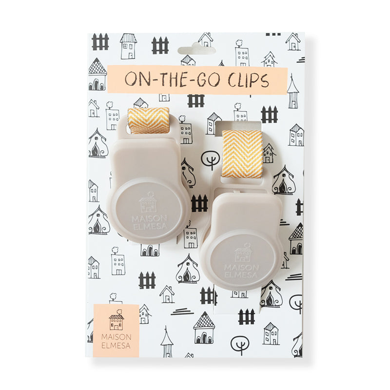 Maison Elmesa On The Go Clips Latte - Chevron Yellow Strap